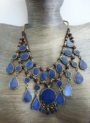 Stunning 3 Tier Blue Lapis 100% Handcrafted Artisan Statement Necklace
