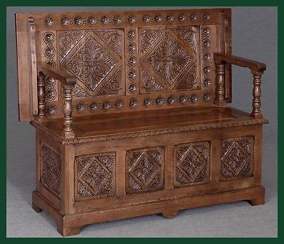 Solid Oak Carved Monks Bench Hall Settle Pew Table Antique Style