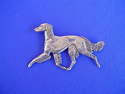 Saluki Pin TROTTING #15B Pewter Sighthound Dog Jewelry by Cindy A. Conter