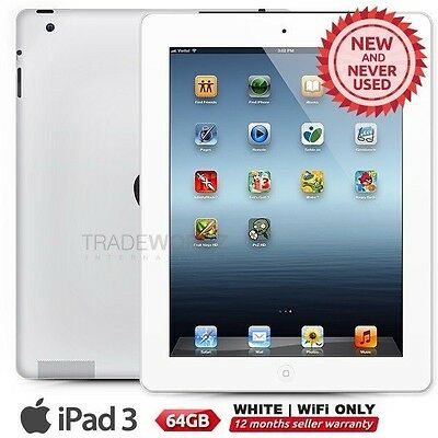 "New APPLE iPad 3 3rd Gen White 64GB WiFi Only 9.7"" Retina Screen Tablet"