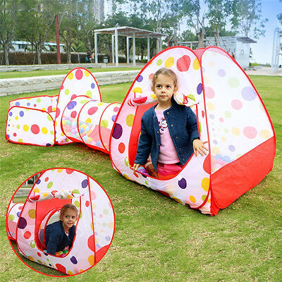 Children Baby Kids Play Tent Tunnel Play House 3 In 1 Pop Indoor Outdoor Dot Toy