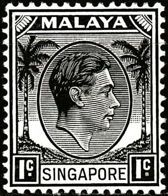 Malaya, Singapore 1948 - SG #1, 1 cent, black - King George VI - MVLH