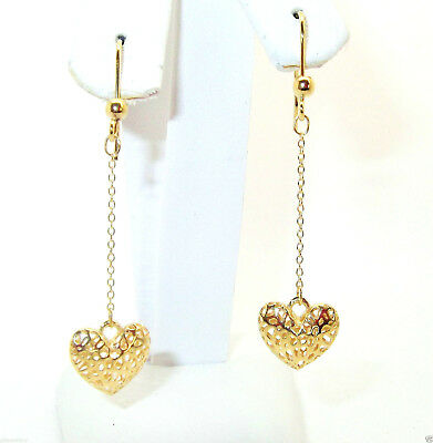 Pair Of 9Ct Hallmarked Yellow Gold 45Mm Drop Heart Dangle Earrings