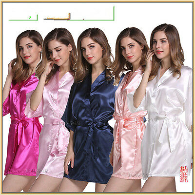 Women solid robe Silk Satin Robes Wedding Bridesmaid Bride Gown kimono robe&