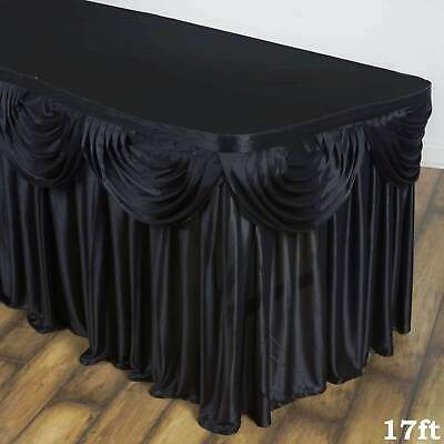 ~NEW~ Double Drape 17 Foot Long Satin Table Skirt - 2 Colors!