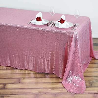 90x156 in. Rectangle Duchess Sequin on Mesh Tablecloth Wedding Party Banquet