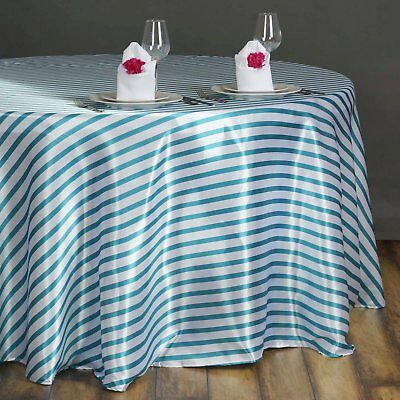 90 in. Satin Round Striped Seamless Tablecloth Wedding/Party/Banquet