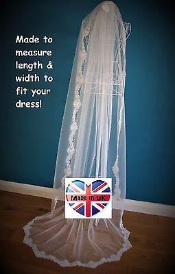 Wedding Veil *Chapel Length*1 Tier*Off white/ Ivory*Wide Corded Lace*Bespoke*
