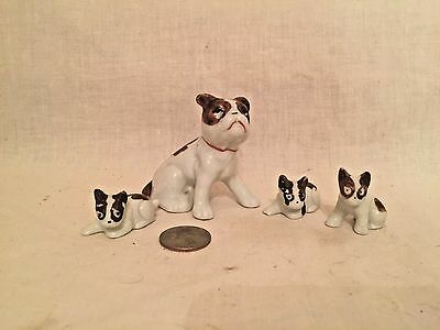 Vintage 1950's French Bulldog ?? Mama Dog and Puppies - Japan