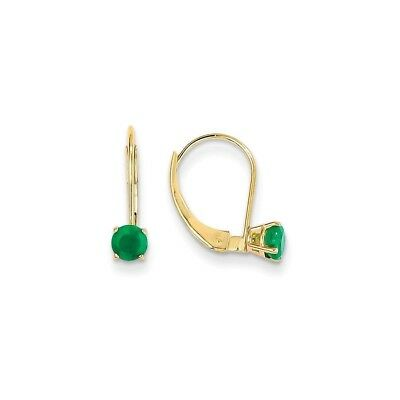 14k Yellow Gold 4mm Round May Emerald Leverback Earrings 0.6 ct