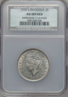 1939 Southern Rhodesia 2 Shillings, NGC AU Details - Cleaned, Key Date