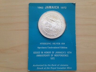 1972 Jamaica $10 Sterling Silver Speciment Coin10th Anniversary of Independence