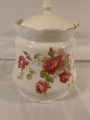Antique Hand Painted Roses Bicuit Jar Cookie Candy China Porcelain Signed