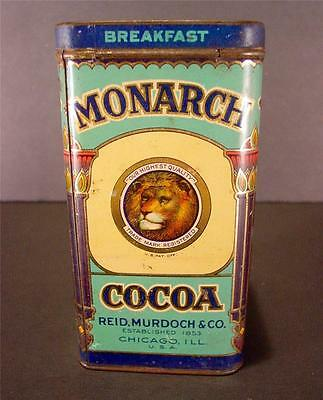 Monarch 1 Lb. Cocoa Advertising Country Store Tin Great Graphics