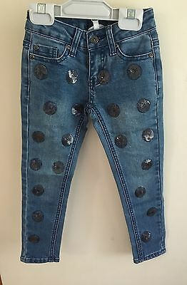 New! Girls Seed Heritage Sequin Spot Stretch Jeans Size 3-4
