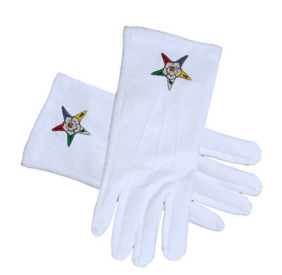 OES EASTERN STAR GLOVES WHITE COTTON EMBROIDERED 4 SIZES * SM..MD..LG..XL