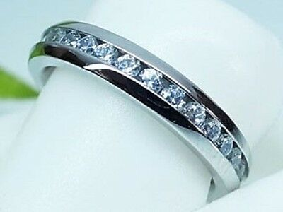 Simulated Diamond Wedding Eternity Ring Band Silver Stainless Steel Size 10 T