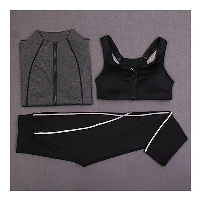 Exquisite Woman Running Sports Fitness Yoga Clothes 3pcs Set    dark grey