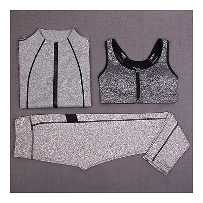 Exquisite Woman Running Sports Fitness Yoga Clothes 3pcs Set   light grey