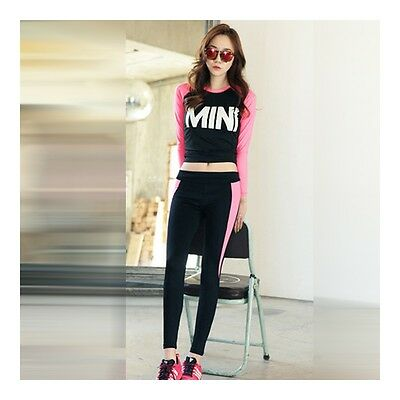 Exquisite Woman Casual Sports Yoga Fitness Skinny Running Clothes   black rose
