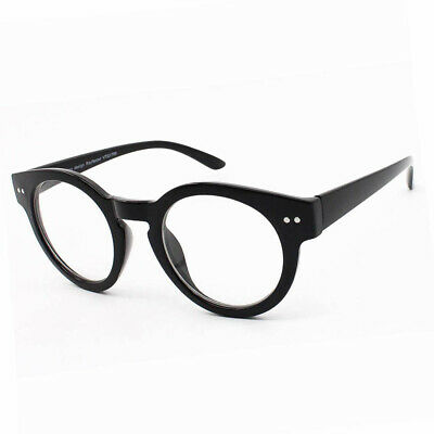 Quality Thick Frame Black Round Keyhole Steampunk VTG Retro Clear Lens Glasses