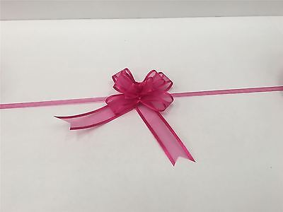 Pull Bow Organza Ribbon - Fuchsia (Pack of 5 Pull Bows) Free P&P