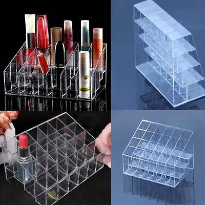 Women Clear Acrylic 24 Lipstick Holder Cosmetic Organizer Display Makeup Case I6