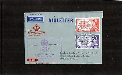 1953 Coronation Day Flight Air Letter GPO Sydney To UK, QANTAS, Good Condition