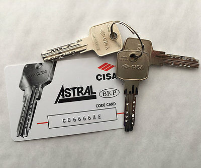 2 x CISA Astral Replacement Cylinder Keys Cut to Code from Card/Key FREE POSTAGE