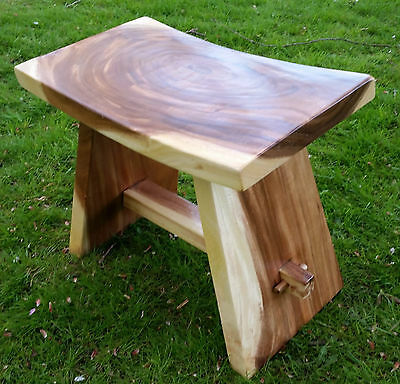 Aged Solid Wood Stool Beautiful Shaded Grains Natural Wooden Curved Seat Pew