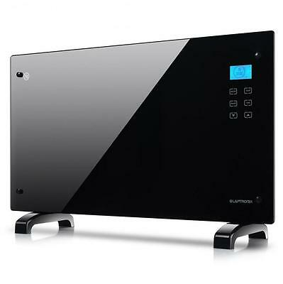 2x Black 2000W Glass Panel Heater Free Standing/Wall Mounting With Touch Control