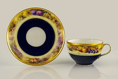 Royal Worcester Fruit Painted Cabinet Cup and Saucer by L. Flexman C. 1920