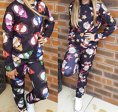 Girls Christmas Santa Penguin Lounge Suit Kids Xmas Tracksuit Payjama 2Peice Set