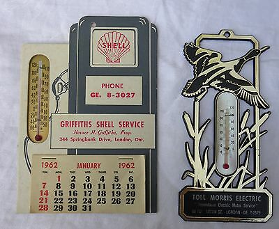(2)1962 GRIFFITHS SHELL & TOLL MORRIS London Ontario Canada Calendar Thermometer