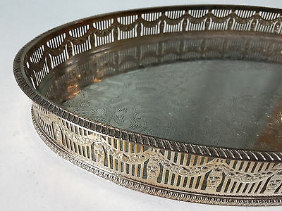 Beautiful Silver Plated Chased Oval Gallery Tray Made In Sheffield England