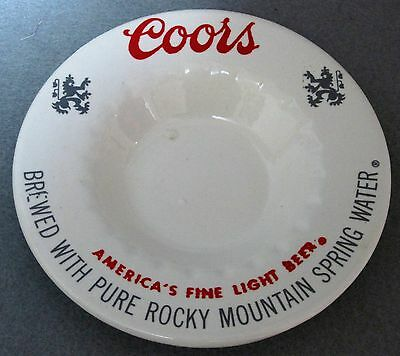 Coors Beer White Ceramic Ashtray