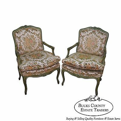 Pair of Custom Green Painted French Louis XV Style Fauteuils Open Arm Chairs