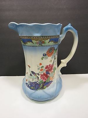 Large Vintage Transferware Pitcher Shabby Victorian Blue Crane Birds Asian