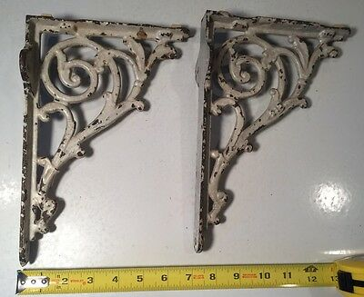 "SET OF VINTAGE CAST IRON INDUSTRIAL SHELF WALL CORNER BRACKETS VICTORIAN 10""x7"""