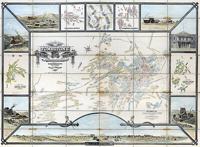 1881 Map of the Tombstone Mining District Cochise Co Arizona