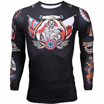 Scramble BJJ TEBORI RASH GUARD JIU JITSU MMA UFC RASHGUARD Compression Tattoo