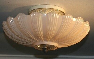 Antique pink glass art deco light fixture ceiling chandelier semi flush 1940s