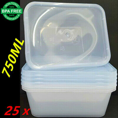 25 X Plastic Take Away Rectangle Food Safe Container Containers 750Ml Bpa Free F