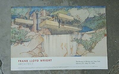 Vintage Frank Llyod Wright poster from 1994 Museum exhibit The Fallingwater