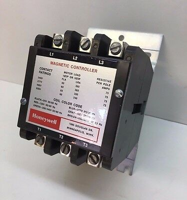 Honeywell R4324B 1054 Contactor 120V 60A Full Load, 75A Res. 3-Pole Single Throw