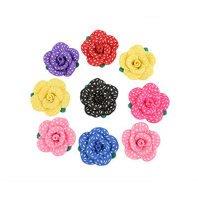 10pcs New White Dots Mixed Color Flower Fimo Polymer Clay Charms Spacer Beads D
