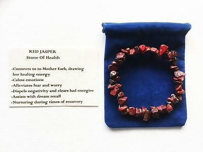 Red Jasper Bracelet Gemstone Crystal Chip Beads Stretch 'BUY 3 GET 1 FREE'