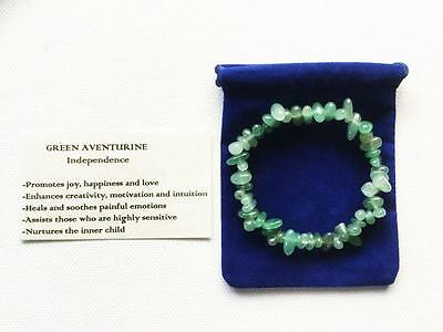 Green Aventurine Bracelet Gemstone Crystal Chip Beads Stretch 'BUY 3 GET 1 FREE'