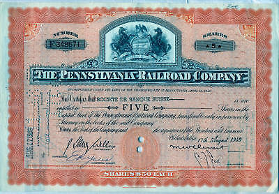 Pennsylvania Railroad Company Stock Certificate Orange Horses State Seal
