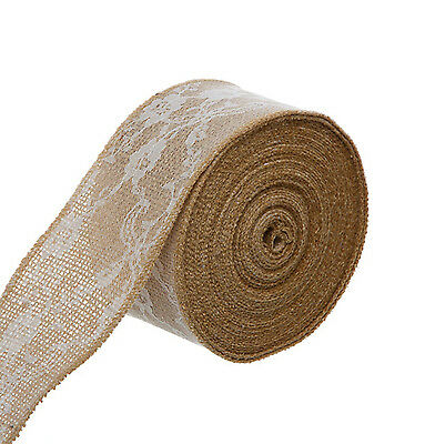 10m BURLAP AND LACE RIBBON JUTE HESSIAN WHITE RUSTIC NATURAL WEDDING 60mm wide